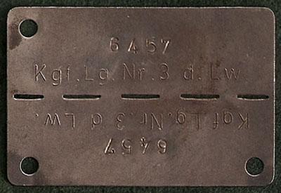 Plaque d'identification du Lt Ossian Seipel qui lui a été délivrée par l'armée allemande