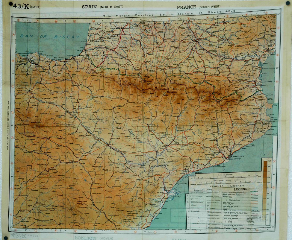 Silk map of southern France and Northern Spain